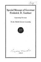 Special Message of Governor Frederick D. Gardner