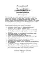 Lucubrator : with transcript and student papers