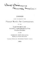 Dinner given in honor of the Missouri World's Fair Commissioners
