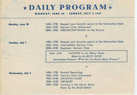 Description of activities taking place at Bad Nauheim during the first three days of the ARC (American Red Cross) Continental Club program, June 30 to July 2, 1947, including beginner, intermediate and advanced German classes.