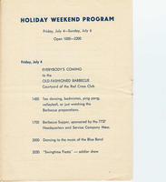 Schedule for Friday, July 4, 1947, included in the ARC (American Red Cross) Continental Club program booklet describing activities held at Bad Nauheim for the weekend of July 4, 1947: To Celebrate July 4th, A Star Spangled Week-End.
