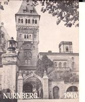 "Cover page of a menu/booklet about Schloss Stein, where the international press was billeted during the Nuremberg Trials. The cover displays a photo of Schloss Stein and the inscription ""Nurnberg 1946"""