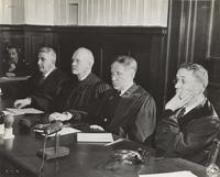 Photograph of the Milch Case judges, left to right: Judge Fitzroy Donald Phillips, Presiding Judge Robert M. Toms, Judge Michael A. Musmanno and Judge John J. Speight, alternate