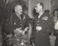 Photograph of two unidentified officers at social function