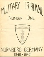 Cover of booklet containing the indictment of, and counts against, 23 defendants tried before the Military Tribunal No. 1 in October 1946 (the Medical Case or the Doctors' Trial)