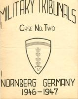 Cover of booklet containing the indictment of, and counts against, Erhard Milch, who was tried before the Military Tribunal No. 2 in November 1946 (the Milch Case)