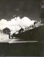 Photo of village street in deep shadow