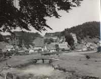 Photo of footbridge over stream, with village in background (duplicate of ntp049.tif)
