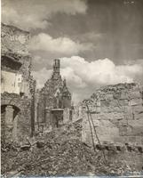 Photo of cathedral surrounded by rubble