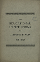 Catalog of the Educational Institutions of the Evangelical Lutheran Synod of Missouri, Ohio, and Other States