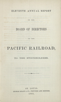 Eleventh Annual Report of the Board of Directors of the Pacific Railroad