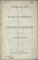 Fifteenth Annual Report of the Board of Directors of the Pacific Railroad