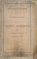 Twenty-Second Annual Report of the Board of Directors of the Pacific Railroad