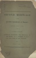 Second Mortgage of the Pacific Railroad (of Missouri)