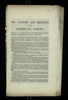 Platform and Principles of the American Party