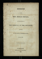 Speech Of The Hon. Horace Binney, On The Question Of The Removal Of The Deposites