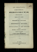 An Oration, Delivered On The Occassion of the Installation of the Officers of Troy Lodge, November 3d, 1841