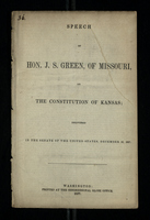 Speech of Hon. J. S. Green, of Missouri, on the Constitution of Kansas