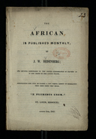 The African is Published Monthly by J. W. Hedenberg; August 5th, 1843