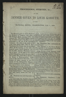 Proceedings, Speeches, &c., at the Dinner Given to Louis Kossuth, at the National Hotel, Washington, Jan. 7, 1852.
