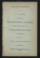 An Address by S. S. Laws, in Behalf of Westminster College