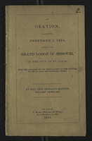 An Oration, Delivered February 1, 1841, Before the Grand Lodge of Missouri, in the City of St. Louis