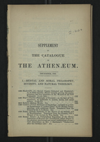 Supplement to the Catalogue of Anthenaeum, December 1845