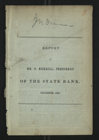Report of Mr. S. Merrill, President of the State Bank, December, 1843