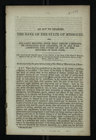 An Act to Charter the Bank of the State of Missouri