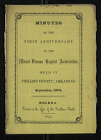 Minutes of the First Anniversary of the Mount Vernon Baptist Association