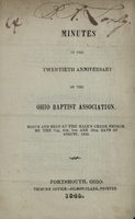 Minutes of the Twentieth Anniversary of the Ohio Baptist Association