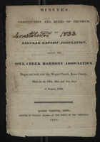 Minutes, Constitution and Rules of Decorum of the Regular Baptist Association