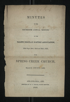 Minutes of the Sixteenth Annual Meeting of the Saline Regular Baptist Association; 1853