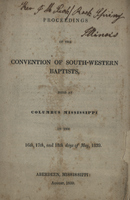 Proceedings of the Convention of South Western Baptists