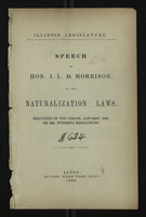 Speech of Hon. J. L. D. Morrison on the Naturalization Laws