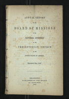 Annual Report of the Board of Missions of General Assembly of the Presbyterian Church, 1846