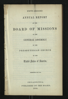 Fifty-Second Annual Report of the Board of Missions of the General Assembly of the Presbyterian Church