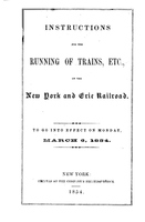 Instructions for the Running of Trains, Etc., on the New York and Erie Railroad