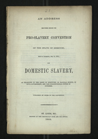 An Address Delivered Before the Pro-Slavery Convention of the State of Missouri
