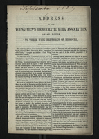 Address of the Young Men's Democratic Whig Association of St. Louis