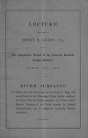 Lecture Delivered by Henry F. Knapp, C.E., Before the Polytechnic Branch of the American Institute (Cooper Institute)