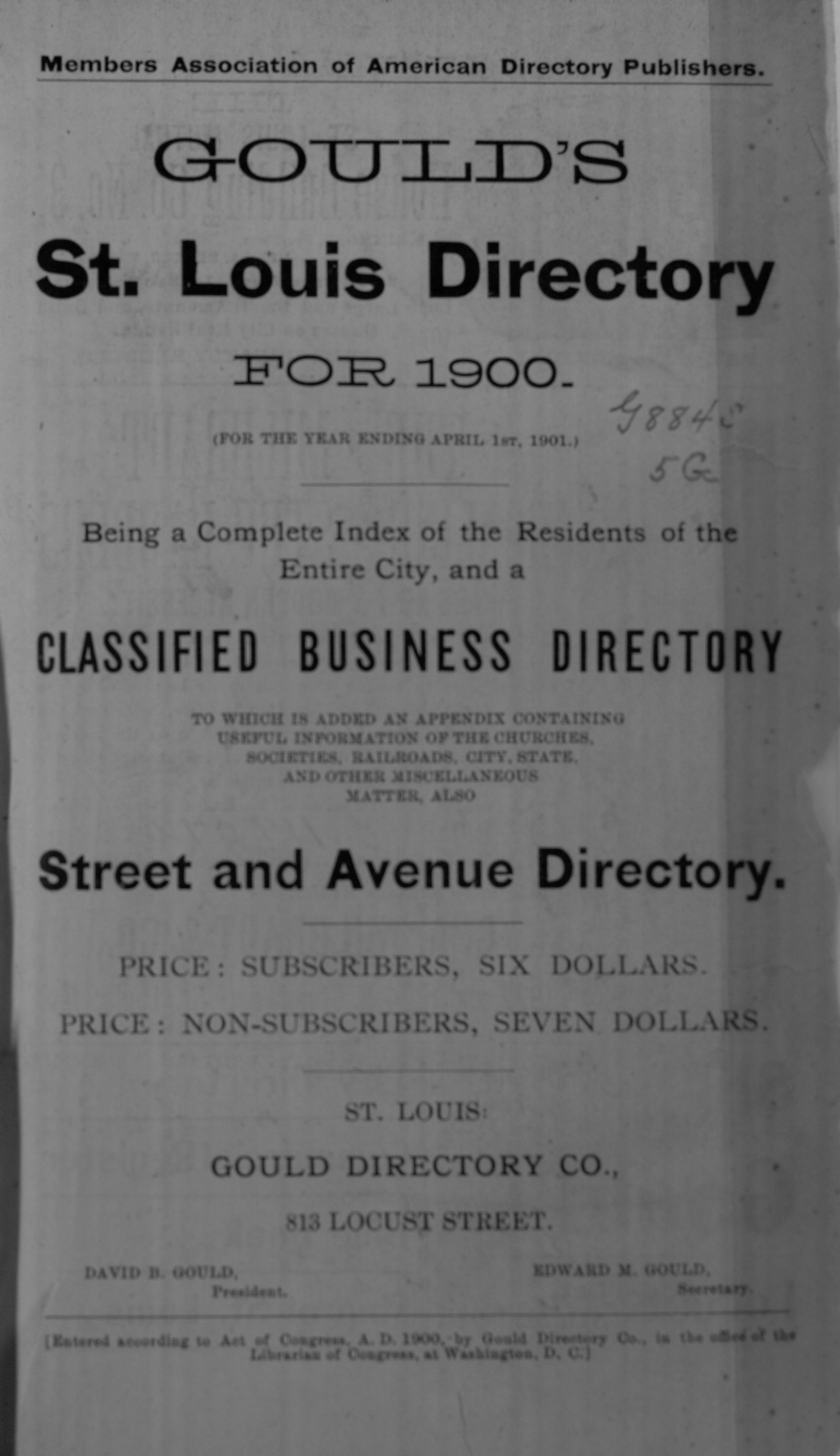 Gould's St. Louis Directory for 1900 (For the Year Ending April 1st, 1901)