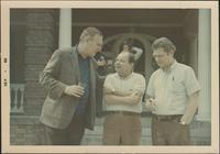 Possibly Dick Gibson talking to Billy Butterfield and Zoot Sims at likely Dick Gibson's Jazz Party in Vail, Colorado
