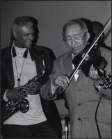 "Bobby Watson helps Claude ""Fiddler"" Williams celebrate his 93rd birthday"