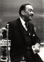 Buck Clayton laughing backstage