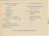 Final page of the ARC (American Red Cross) Continental Club program booklet, describing ARC and Army Exchange services offered during the week of June 30 to July 6, 1947 at Bad Nauheim