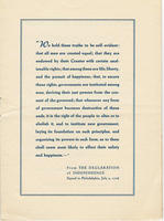 Excerpted text from the Declaration of Independence included in the ARC (American Red Cross) Continental Club program booklet describing activities held at Bad Nauheim for the weekend of July 4, 1947: To Celebrate July 4th, A Star Spangled Week-End.