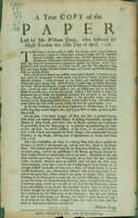 True copy of the paper left by Mr. William Gregg, who suffered for high-treason the 28th day of April, 1708