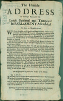Humble address of the Right Honourable the Lords spiritual and temporal in Parliament assembled, die Lunæ 20 Decembris, 1703