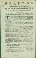 Reasons humbly offer'd to the legislature by the people called Quakers